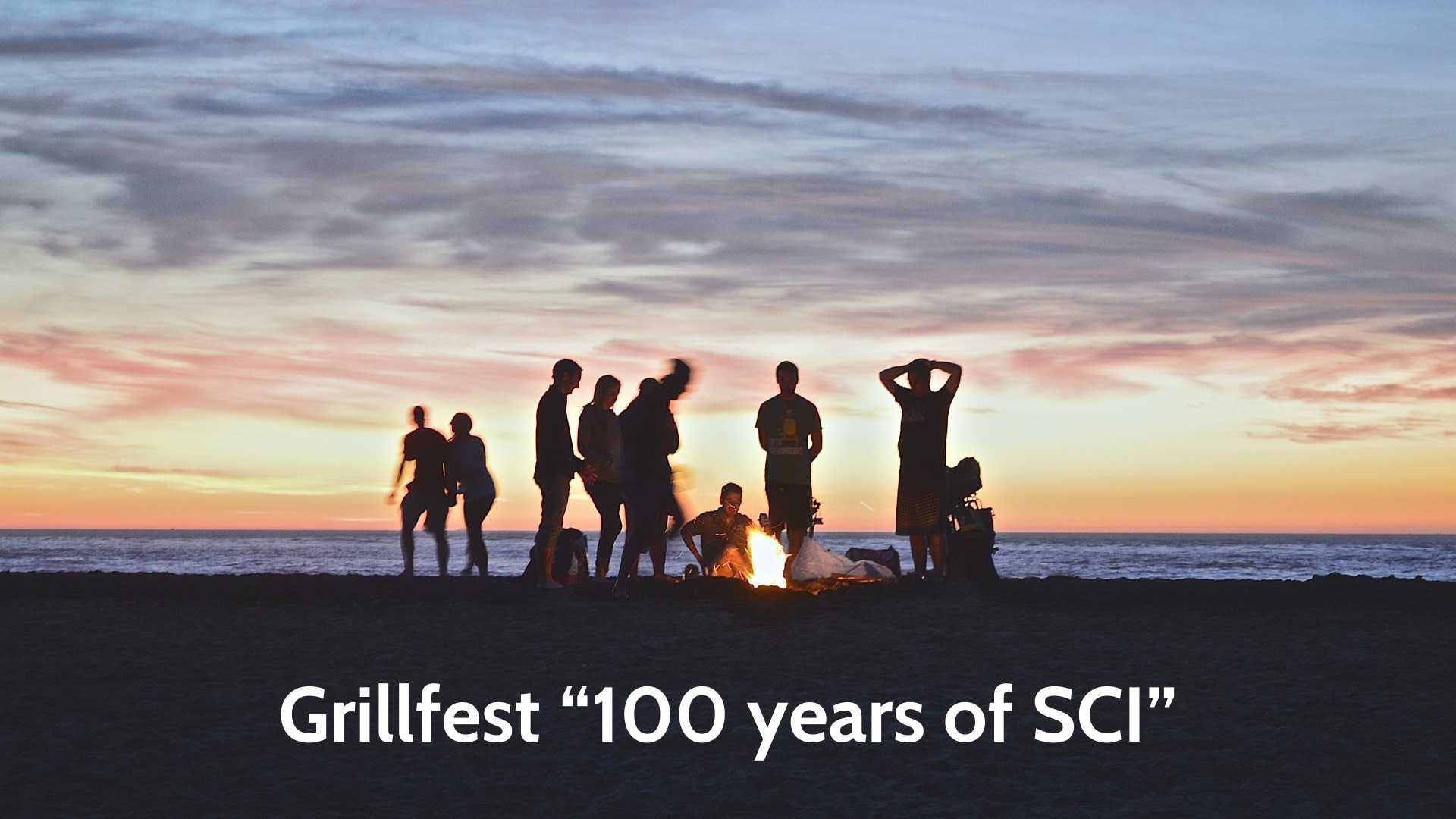 Grillfest poster - sunset in the background, siluhets of people around a campfire